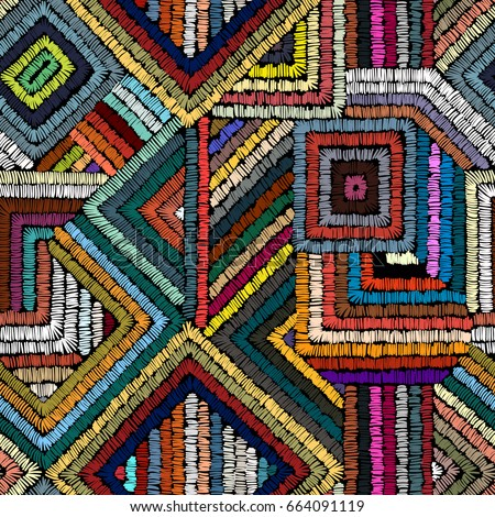 Stock photo: Tribal ethnic colorful bohemian pattern with geometric elements,