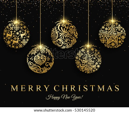 group of golden luxury christmas balls for festival season greet Stock photo © SArts