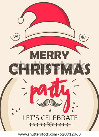 christmas party flyer design with santa claus cap and snow flake Stock photo © SArts