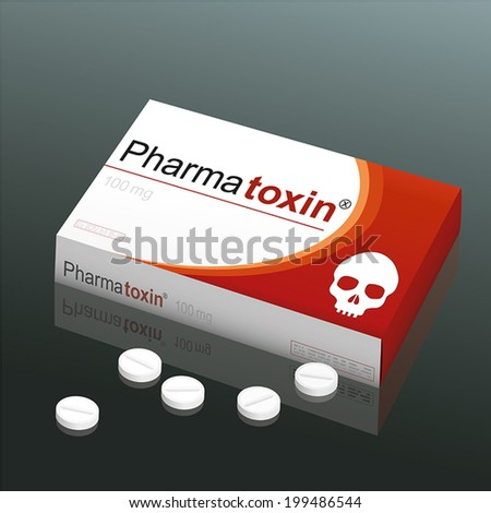Tablet with a skull. Pill death. Medical product vector illustra Stock photo © popaukropa