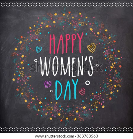 March 8, Woman s day. Vector greeting card with chalkboard background. Stock photo © FoxysGraphic