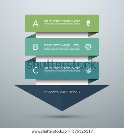 arrow infographic concept vector template with 3 options parts stages buttons can be used for w stock photo © kyryloff