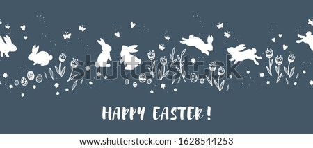 happy easter vector easter eggs with grass butterfly and flowers in frame isolated on a gray back stock photo © olehsvetiukha