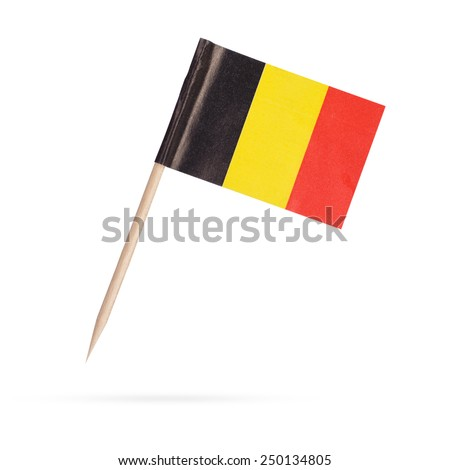 Waving flag of Belgium close-up with shadow on white background. Vector illustration with copy space Stock photo © m_pavlov