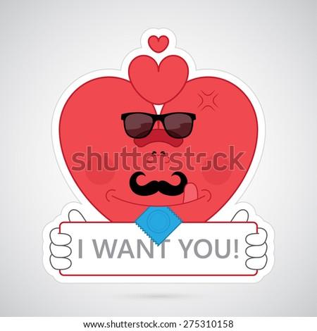 Preservativo mascote amor rosa vermelha Foto stock © hittoon