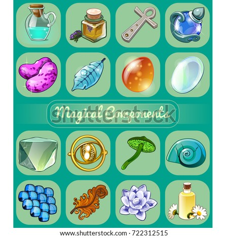 Set of magical items. Sketch for holiday stickers, cards or party invitation. Lavender oil, Ankh cro Stock photo © Lady-Luck