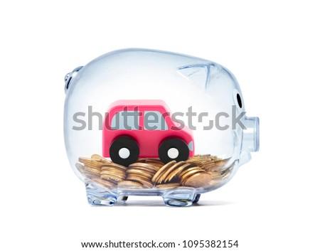 Araba minyatür para içinde şeffaf kumbara Stok fotoğraf © sqback