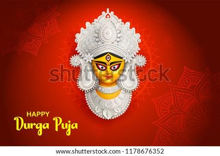 Goddess Durga Face in Happy Durga Puja Subh Navratri background Stock photo © vectomart
