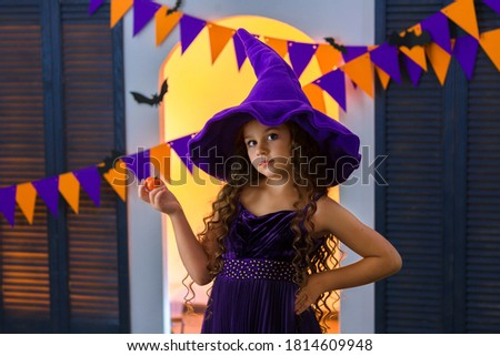 Happy Halloween Carnival Background. Orange purple flags garland, confetti concept for party design. Stock photo © olehsvetiukha