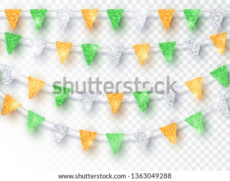 India garland flag with confetti on transparent background, Hang bunting for celebration template ba Stock photo © olehsvetiukha