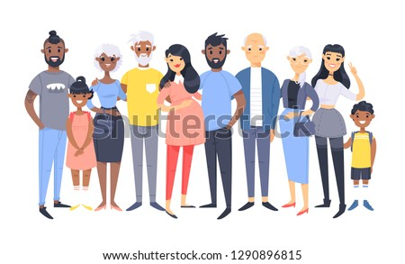 Girl Avatar Set Kid Vector. Black. Afro American. High School. Face Emotions. Facial, People. Active Stock photo © pikepicture