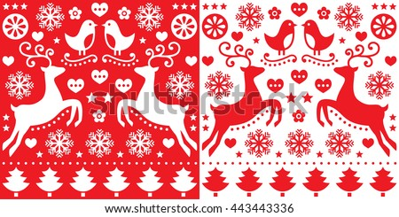 christmas folk art vector seamless pattern with reindeer flowers xmas tree and winter clothes d stock photo © redkoala