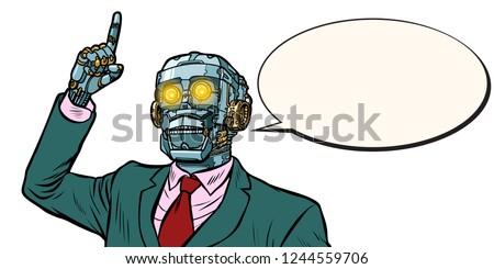 emotional speaker robot, dictatorship of gadgets. isolate on whi Stock photo © studiostoks