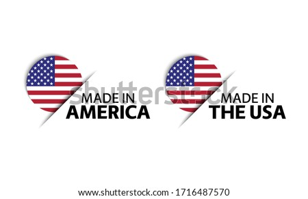 Modern vector Made in the USA label isolated on white background, simple sticker with American color stock photo © kurkalukas