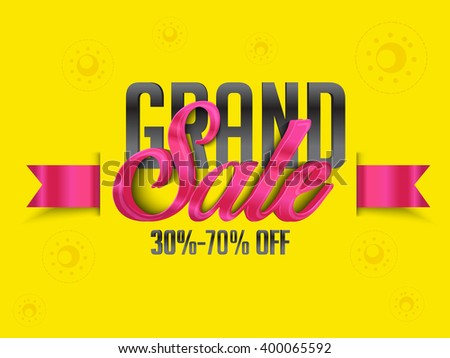 Grand sale banner, flyer or poster with typographical text with abstract gold and black geometric ba Stock photo © ikopylov