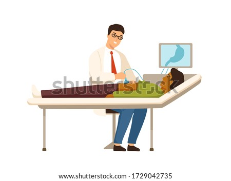 Male doctor with ultrasonic equipment during ultrasound medical  Stock photo © boggy