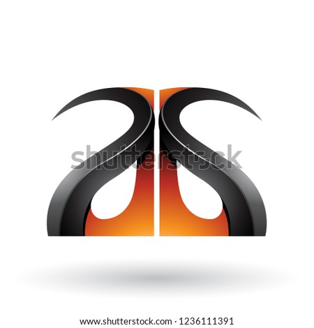 orange and black glossy curvy embossed letter g vector illustrat stock photo © cidepix