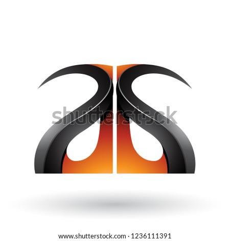 Orange and Black Glossy Curvy Embossed Letter G Vector Illustrat Stock photo © cidepix