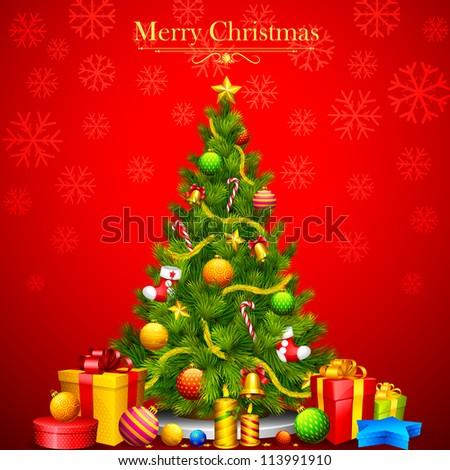Foto stock: árvore · de · natal · decorado · velas · novo · ano · novo