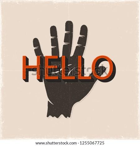 привет рукой знак рисованной силуэта стиль ретро Сток-фото © JeksonGraphics