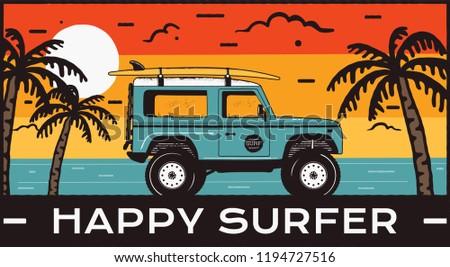 Szörf grafika poszter logo boldog szörfös Stock fotó © JeksonGraphics