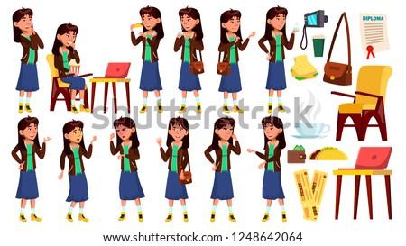 Asian teen girl zestaw wektora emocjonalny stanowią Zdjęcia stock © pikepicture