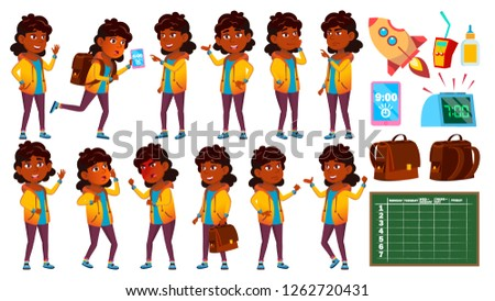 Indian Girl Set Vector. Primary School Child. University, Graduate. Hindu. Asian. For Presentation,  Stock photo © pikepicture