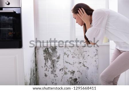 mulher · olhando · bolor · parede · vista · lateral · mulher · jovem - foto stock © andreypopov