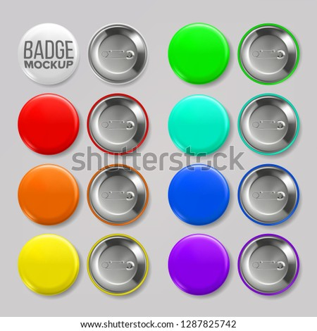 Badge Mockup Set Vector. Pin Brooch Button Blank. Two Sides. Promotion, Merchandise Item. 3D Realist Stock photo © pikepicture