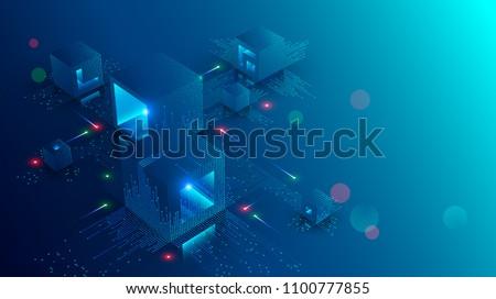 Bitcoin Blockchain Technology Vector Illustration Stock photo © robuart