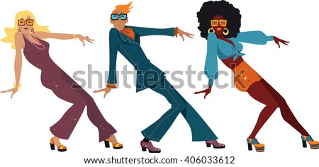 robots dancing at disco with people vector isolated illustration stock photo © pikepicture
