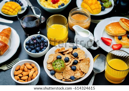 Stock fotó: Reggeli · asztal · friss · gyümölcsök · palacsinták · kávé