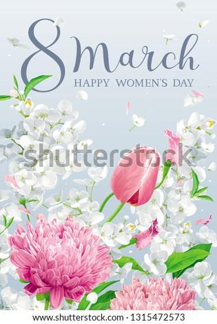 Stockfoto: Tulpen · appel · bloesem · vector · wenskaart · vrouwen