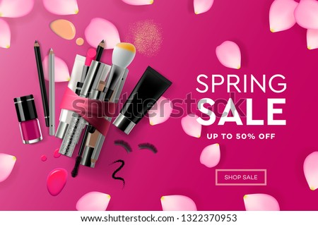 Web page design template for Spring Sale cosmetics, makeup course, natural products, body care. Mode Stock photo © ikopylov