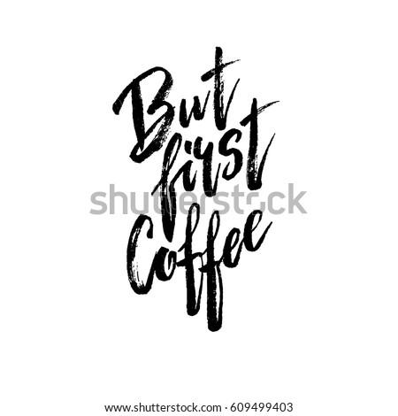 最初 コーヒー 現代 ブラシ 書道 ストックフォト © bonnie_cocos