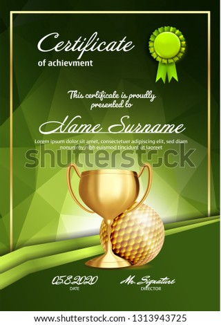 golf award vector golf ball golden cup sports game event announcement golf banner advertising p stock photo © pikepicture