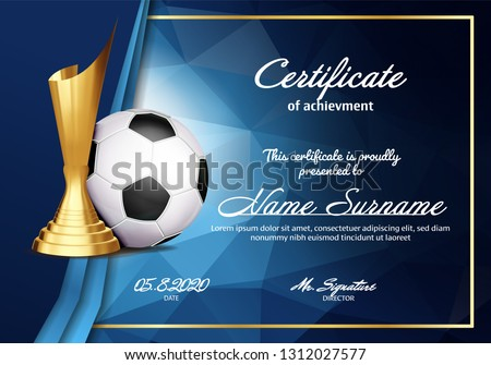 Soccer Certificate Diploma With Golden Cup Vector. Sport Graduate Champion. Best Prize. Winner Troph Stock photo © pikepicture