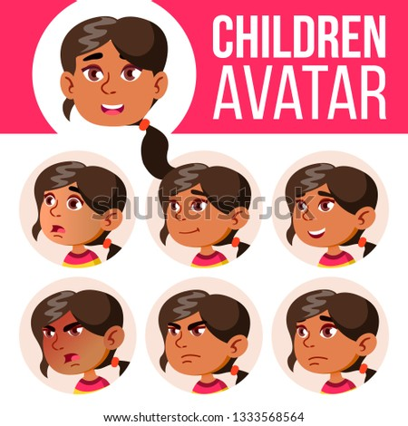 Arab, Muslim Girl Avatar Set Kid Vector. Kindergarten. Face Emotions. Web, Head, Icon. Positive, Cas Stock photo © pikepicture