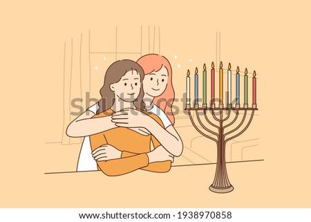 Happy jewish family together cartoon concept vector illustration Stock photo © NikoDzhi