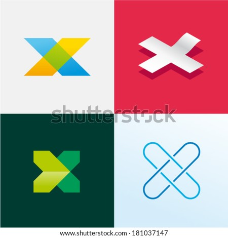 Blue Black and Orange Square Shaped Letter X Vector Illustration Stock photo © cidepix
