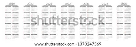 Mockup Simple calendar Layout for 2019 to 2025 years. Week starts from Sunday Stock photo © olehsvetiukha