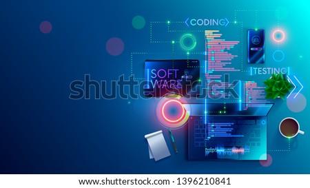 Isométrica vetor software desenvolvimento trabalho em equipe Foto stock © TarikVision