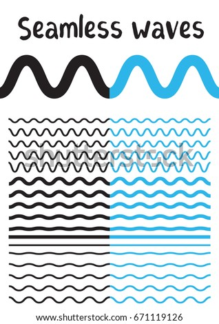 set of horizontal lines of different blue waves vector illustration stock photo © kup1984