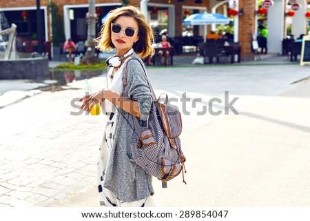Zonnige lifestyle mode portret jonge stijlvol Stockfoto © ElenaBatkova