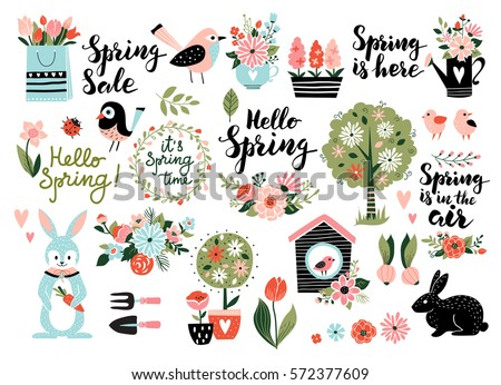 spring set hand drawn flowers birds rabbit and calligraphy on white background stock photo © brahmapootra