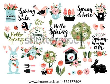 Stock fotó: Tavasz · szett · kézzel · rajzolt · virágok · madarak · nyúl