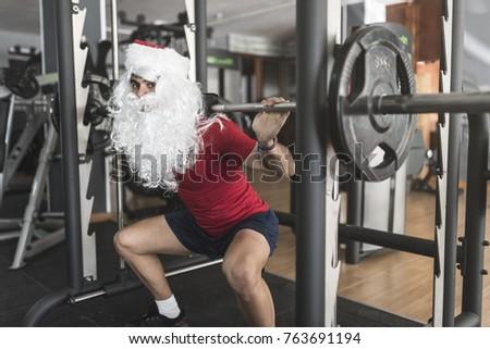 afbeelding · jonge · man · 30s · kerstman · kostuum · Rood - stockfoto © deandrobot