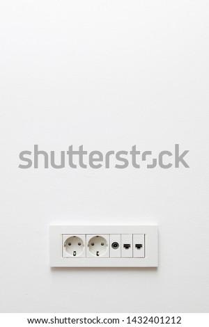 白 · プラスチック · 家 · 壁 · 電話 · 背景 - ストックフォト © boggy