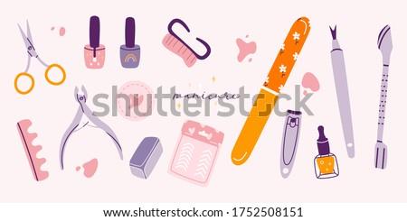 Manikűrös kézzel rajzolt firkák illusztráció manikűr poszter Stock fotó © balabolka