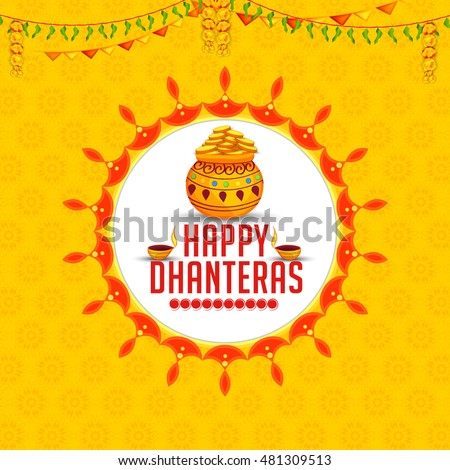 beautiful happy dhanteras greeting card design with gold coin ka Stock photo © SArts